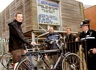Tony Clark (City Screen), Andy Vose, cycling /walking officer, Graham Titchener, programme manager Cycling City and PC Jon Hodgeon, Guildhall Safer Neighbourhood Team