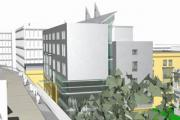 NEW LOOK: An artist's impression of the proposed 120-bedroom hotel in Toft Green, pictured centre, in yellow and grey