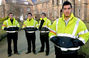 Jason Wallis with his colleagues, from left, Matthew McDonald, Leigh Hankinson and Josh Parker, who are to patrol the streets around York St John University to cut down on disturbance