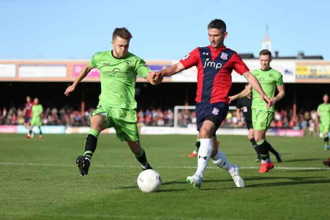 Paddy McLaughlin, pictured in action against King's Lynn Town in September, went close in the first half