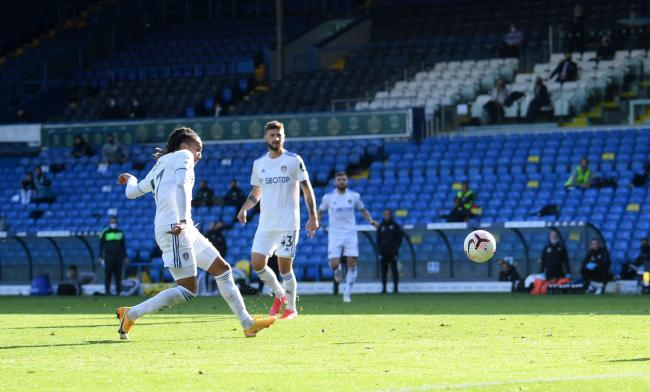 Leeds United's Helder Costa scores his side's fourth goal of the game during the Premier League match at Elland Road, on Saturday, September 19, 2020.