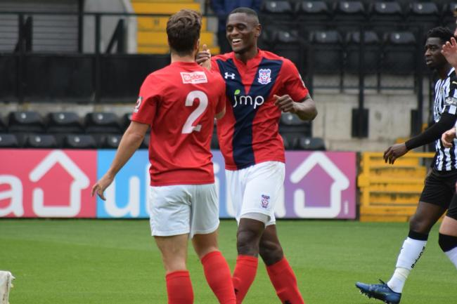 York City midfielder Akil Wright celebrates. Picture: Tom Poole