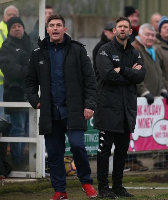 Pickering Town manager Steve Roberts (right) with assistant Tony Hackworth, whose team's fixtures have been postponed up to and including January 12. Picture: Pickering Town FC