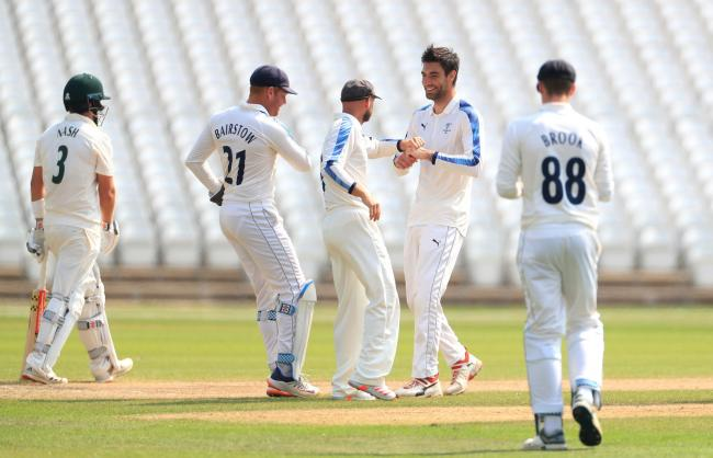 Yorkshire bowler Duanne Olivier celebrates taking a wicket against Nottinghamshire. Picture: Mike Egerton/PA Wire