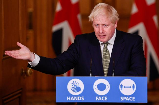 Prime Minister Boris Johnson during a media briefing in Downing Street, London, on coronavirus (COVID-19) earlier this month