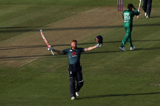 Jonny Bairstow celebrates his century during a one-day international win over Pakistan at the Bristol County Ground last May. Picture: David Davies/PA Wire