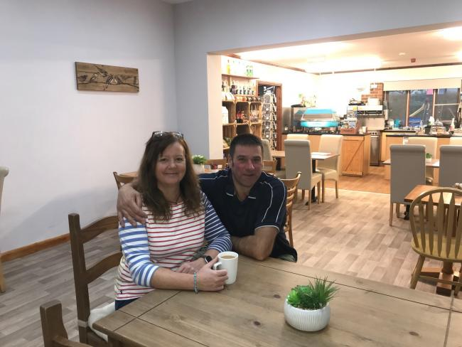 Jo and Colin Barnes in The Mile cafe which has been remodelled to create more space in response to Covid-19 restrictions.