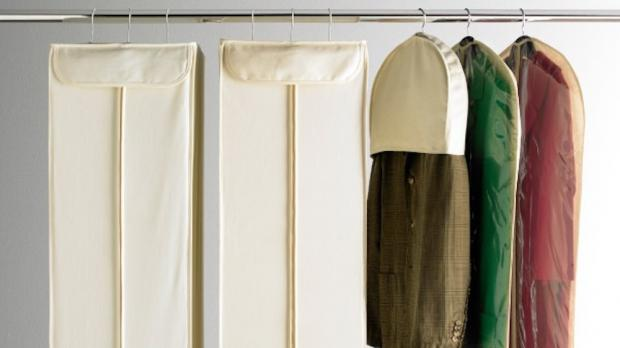York Press: Delicate items should be hung up in garment bags. Credit: The Container Store