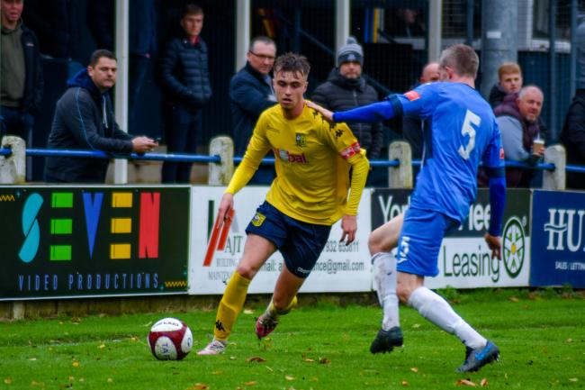 Tadcaster Albion goalscorer Bailey Thompson in action during the Brewers' 2-1 defeat to Ramsbottom United. Picture: Matthew Appleby