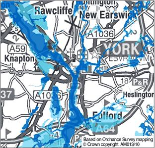 Flood Map York Floods fears for York households as Environment Agency issue