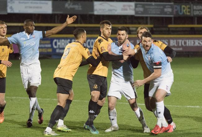 Akil Wright, Robbie Tinkler and Sean Newton in action for York City in their 3-2 win at Southport on Tuesday night - their last outing before another positive Covid-19 test put the brakes on the Minstermen's campaign. Picture: Ian Parker