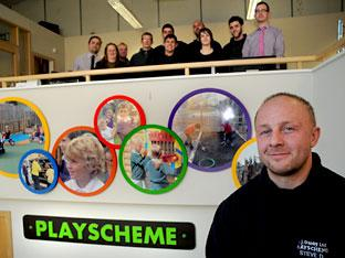 Steve Danby with his staff at Playscheme, Elvington