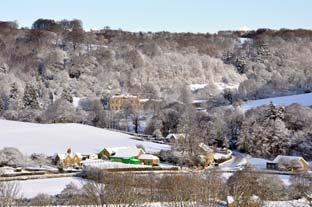 York Press: Looking down on a wintry scene of Hackness Village and Hall.