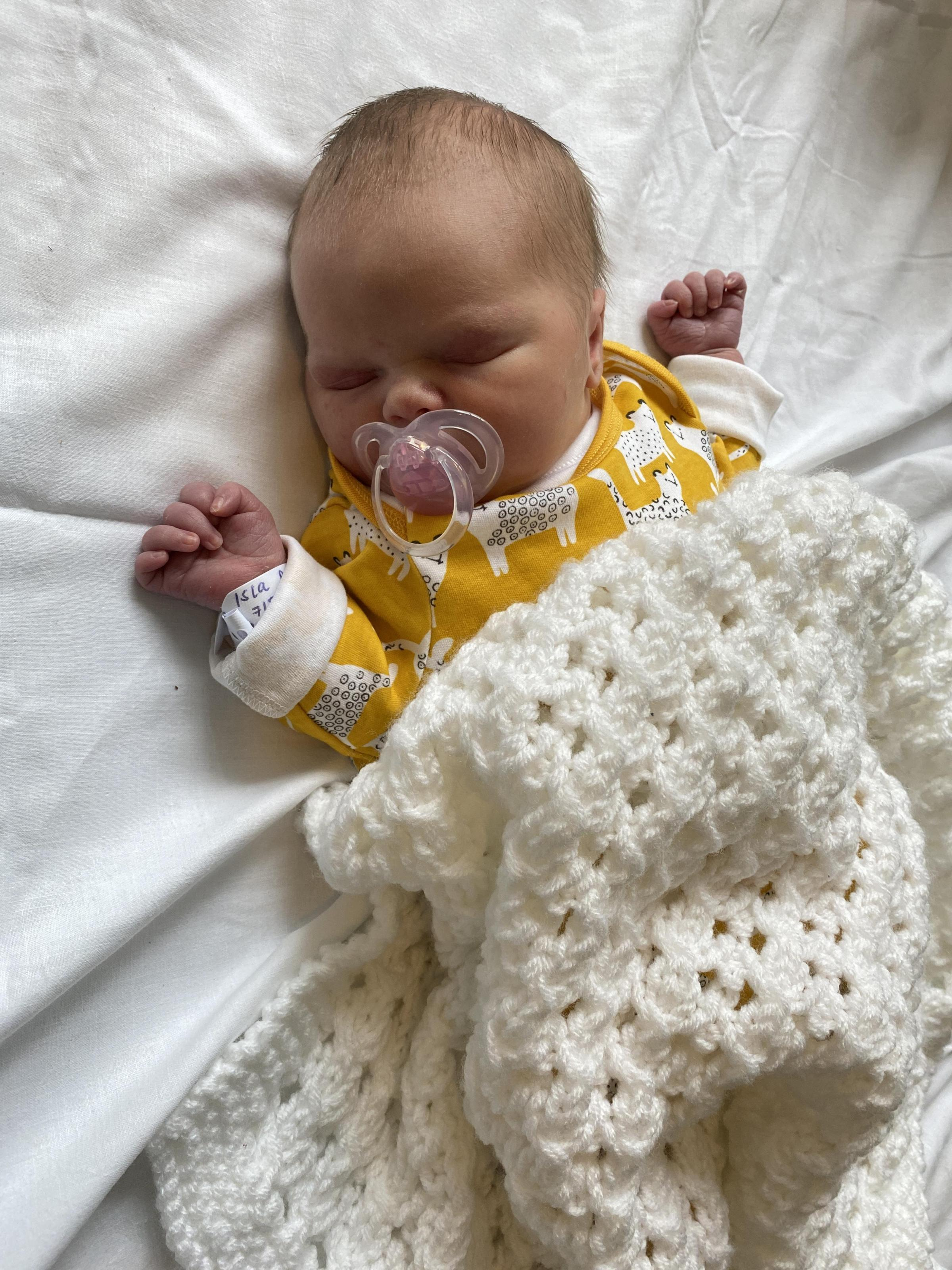 York Press: Isla Deacon-Brown born on August 7 at York Hospital  to Evie Brown and Jak Deacon  of Walmgate, York. Isla when she was born.