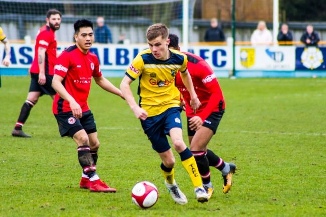 Harry Sheppeard in action for Tadcaster Albion against Hyde United during his first stint at Ings Lane. Picture: Matthew Appleby