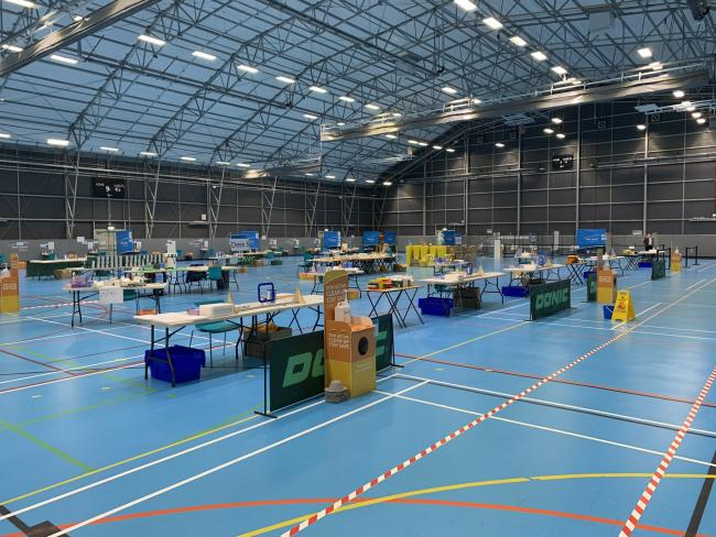 Inside the Sports Centre where the mass testing is taking place. Picture: Ian Wiggins