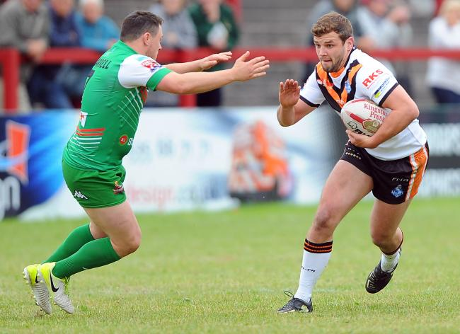 Former York City Knights captain Ed Smith in action against Keighley Cougars. Picture: John Rushworth