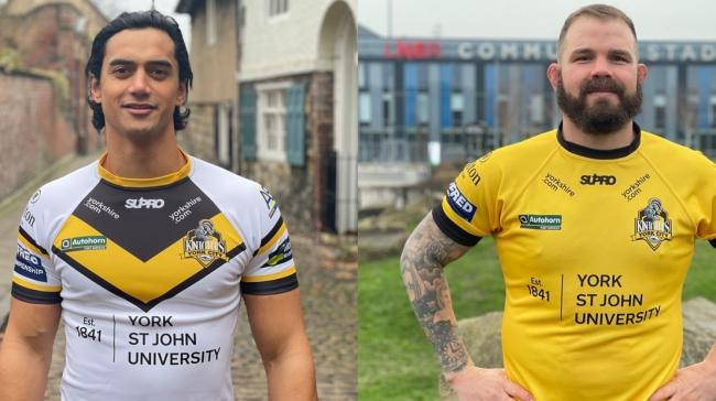 York City Knights players Tyme Dow-Nikau (left) and Adam Cuthbertson (right) model the new 2021 shirts. Picture: York City Knights