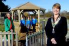 Anne Godfrey, president of the Rotary Club of York Ainsty, right, and Rachel Stott, chair of the PTA, with the new gazebo at Rufforth Primary School