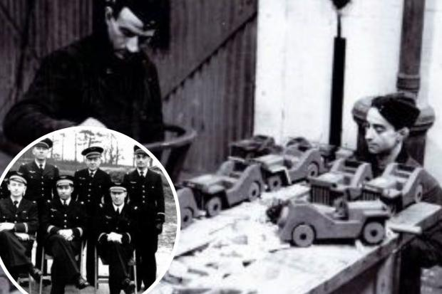Mechanics from the French wartime squadron working on toys for York children during Christmas 1944, and inset, Commandant Francois Churet, middle front row, and his team