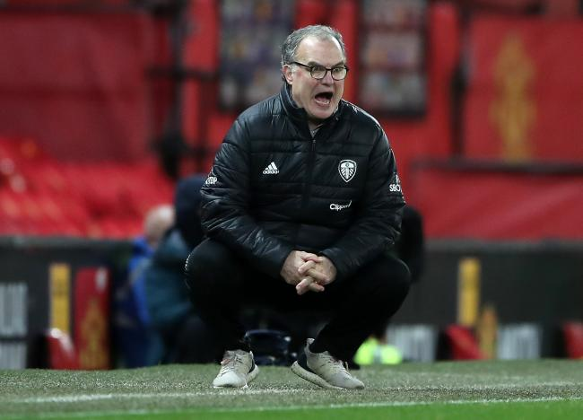 Leeds United manager Marcelo Bielsa appears frustrated during the Premier League match at Old Trafford, Manchester