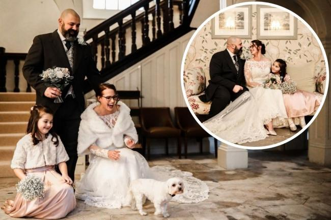 Hannah Wade and Tony Whitehead with their seven-year-old daughter Aria were joined by one other special guest for their wedding photoshoot at the Talbot Hotel, their dog Lola