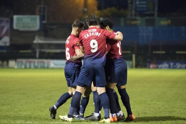 York City players celebrate during the Minstermen's 2-1 win over Chester at Bootham Crescent. Picture: Ian Parker