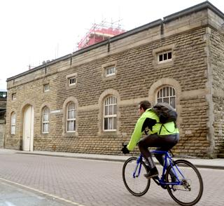 The former electricty sub-station beside Lendal Bridge, which is to be converted into a cycle store