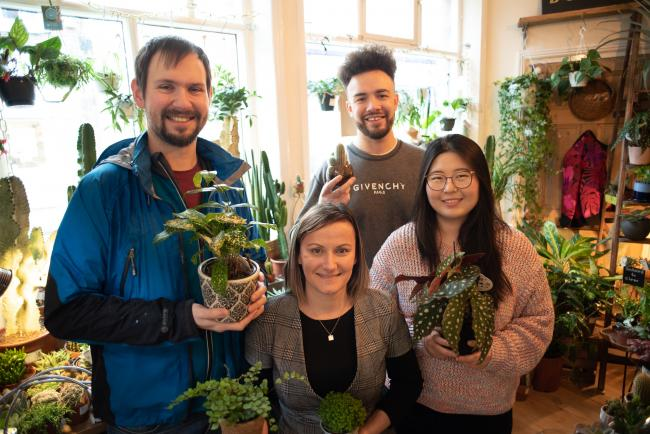 Some of the RotaCloud team, pictured at Botanic in Walmgate before the pandemic, purchasing plants with their 'wellbeing budget'.