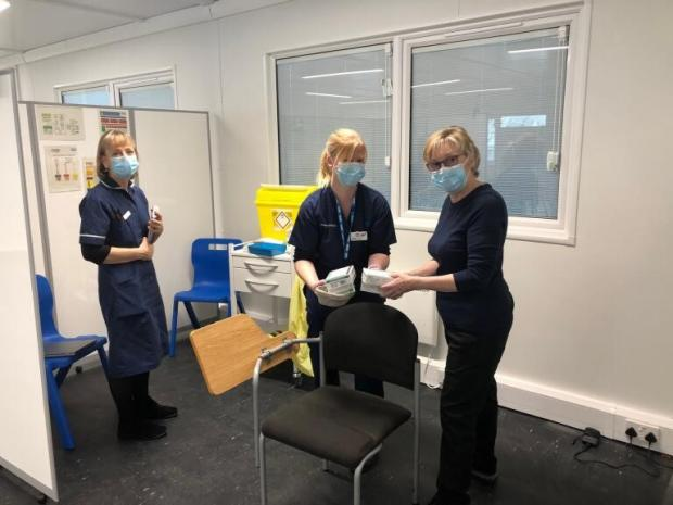 York Press: Staff at work inside one of the new Vaccination Centre buildings