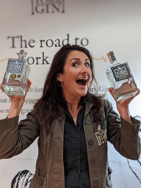 York Gin co-founder and director Emma Godivala celebrates her company's two awards, including the Best English Old Tom title