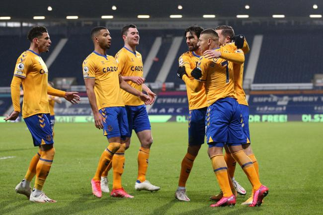 Everton celebrate during the win at West Brom