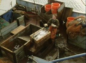 Fishermen bring in the catch of the day to Whitby in the BBC film from 1987