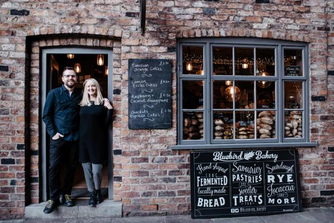 Bluebird Bakery owners Nicky and Al Kippax outside the shop in Little Shambles, York Picture: Esme Mai Photography