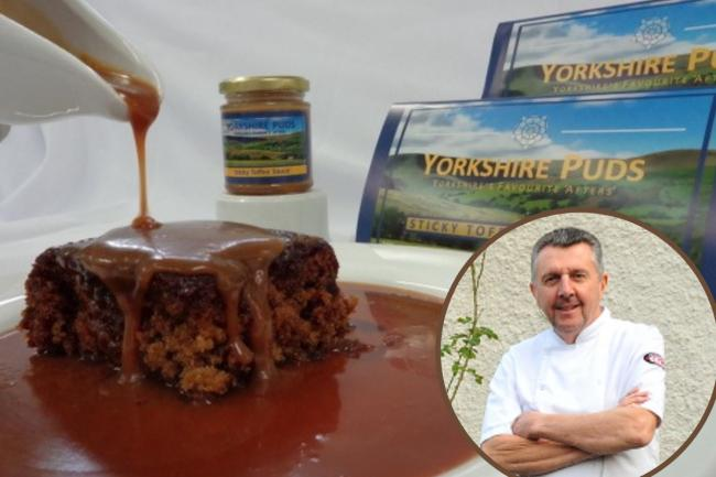 Plough Inn head chef Geoff Smith with the Yorkshire Puds sticky sticky toffee pudding and sauce which has been launched for retail.