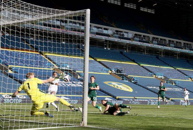 Sheffield United's Phil Jagielka (centre) scores an own goal during the Premier League match at Elland Road, Leeds. Picture: Carl Recine/PA Wire