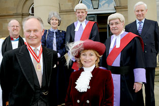 Richard Compton, the new High Sheriff of North Yorkshire, takes over his office from Francesca Horsfield as other officials linked to the judiciary in York look on