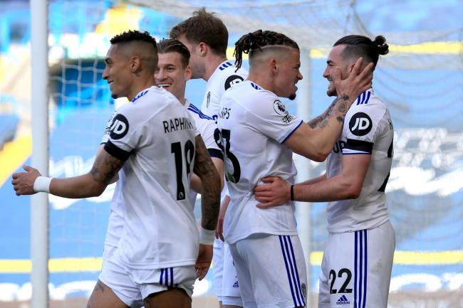 Jack Harrison, right, is congratulated by his Leeds team-mates after scoring in last week's home win against Sheffield United