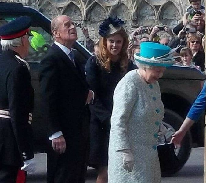 York Press: The Queen, Philip and Beatice entering the Yorkshire Museum in 2012. I am hanging off a lamppost!
