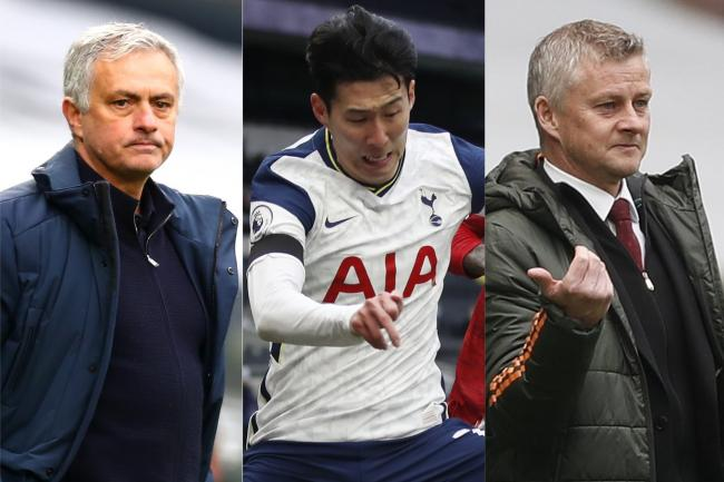 Jose Mourinho, left, was fuming with Ole Gunnar Solskjaer's comments about Son Heung-min, centre
