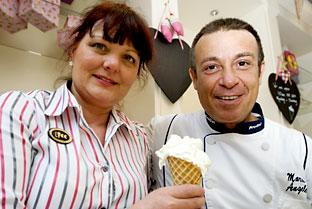 Dawn Argyle and Marco Angelé at the new Luxury Ice Cream Company café in York