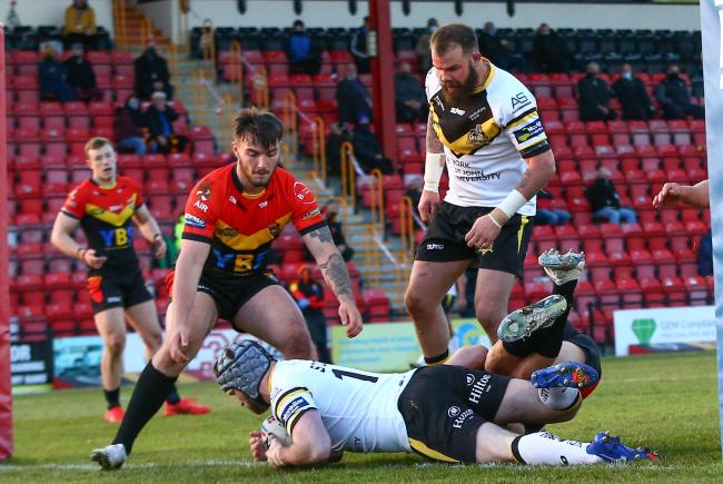 York City Knights forward Marcus Stock gets over the try-line. Picture: Craig Hawkhead