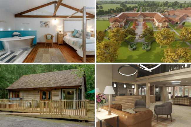 Work at the new luxury Sandburn Hall Hotel near York, right top and bottom, is on track for its launch on May 24, while the estate's lodges, left top and bottom, are proving popular.