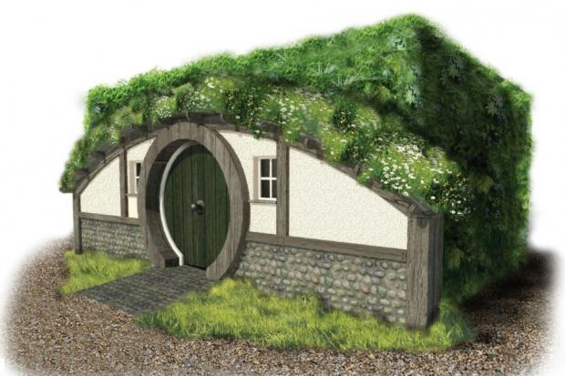 The exterior of Bookend cottage which looks like a Hobbit house from Lord of the Rings