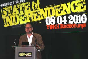 Charles Cecil, managing director of Revolution Software, gives the opening speech at the State of Independence conference held at York Racecourse.