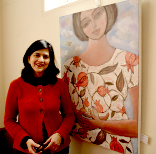 Sudeshna Chattopadhyay with one of her paintings at the The Unitarian Chapel, St Saviourgate