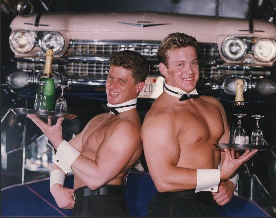 A scene from Ziggy's nightclub back in the day - topless waiters Steve Finney, left, and Dave Swain ready for Ladies Night at Ziggy's nightclub, York, in 1993