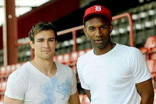 York City's new signings Greg Young, left, and Duane Courtney at Bootham Crescent