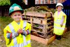 Year One pupils Wayne Richardson and Natalie Archer show their pride in their new insect hotel, at Haxby Road Primary School