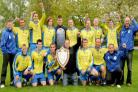 Haxby United  celebrate winning the York Minster Engineering Football League  premier  division title. Pictured with the  trophy are captain Neale Holmes, front left,  and  manager Dean Rogerson, front right